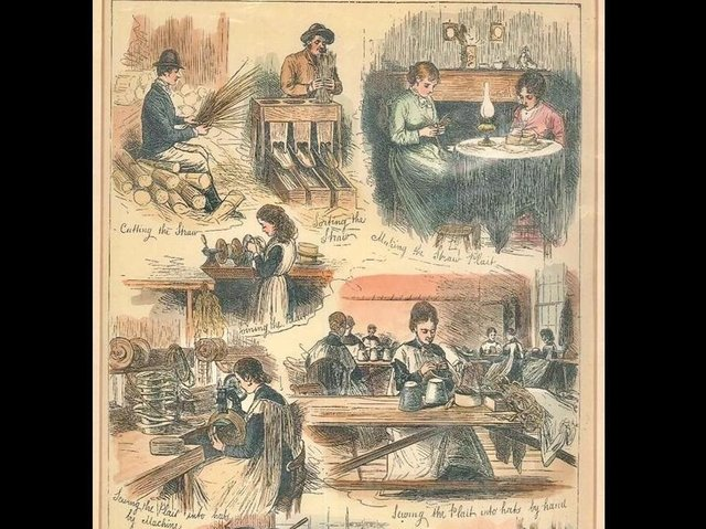 Various steps of straw plaiting in Luton (image courtesy of The Culture Trust, Luton)