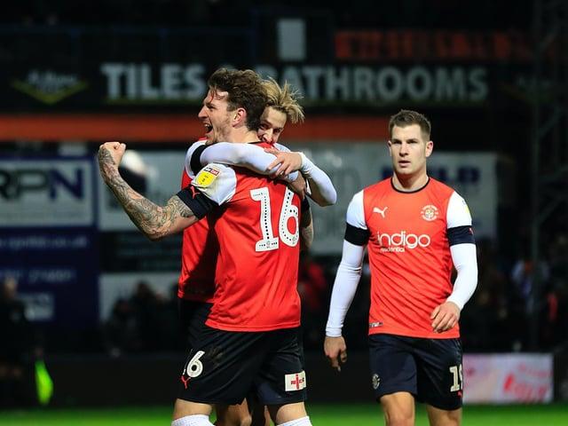 Luton celebrate beating Derby County 3-2 at Kenilworth Road last season