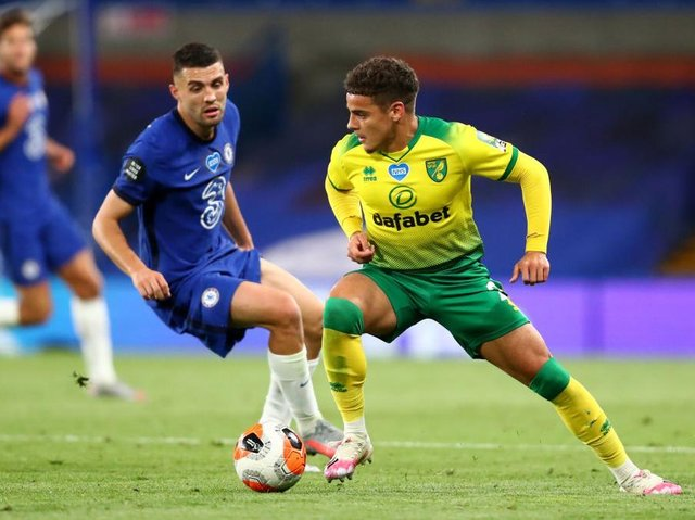 Former Luton youngster Max Aarons in action for Norwich last season