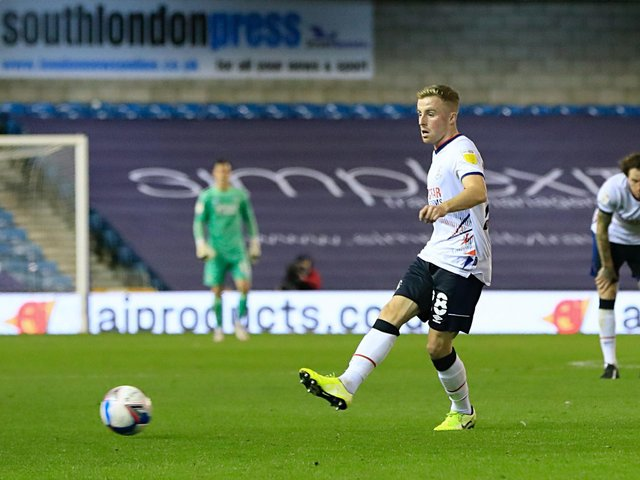 Joe Morrell gets play moving against Millwall on Tuesday night