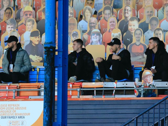 Luton's injured players watch on against Brentford on Saturday