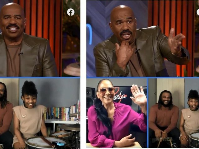 Geneva appeared Steve Harvey's show and he surprised her bringing on one of her drumming inspirations Sheila E (C) STEVE on Watch