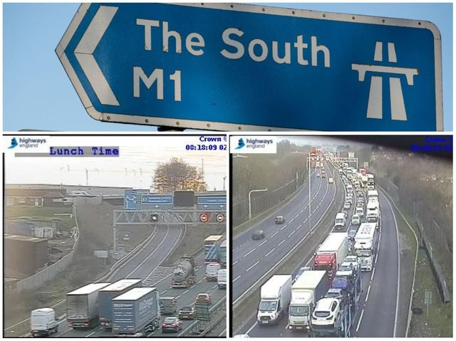 Highways England jamcams showed the queues heading south on the M1 on Wednesday morning