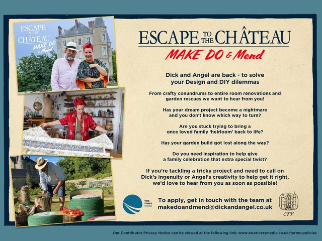 Bedfordshire residents wanted for Channel 4's Escape To The Chateau: Make Do and Mend (C) Chateau TV