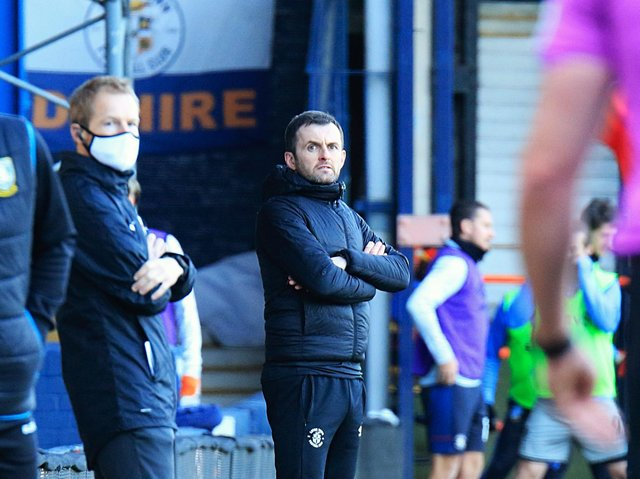 Hatters boss Nathan Jones watches on during Town's 3-2 win over Sheffield Wednesday