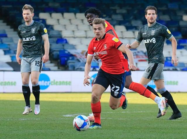 Kiernan Dewsbury-Hall drives forward against Sheffield Wednesday
