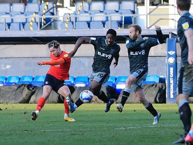 Harry Cornick goes for goal against Sheffield Wednesday
