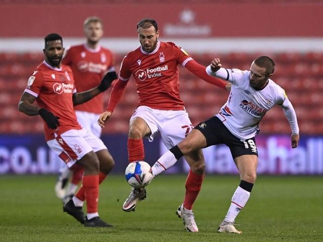 Jordan Clark puts in a challenge against Nottingham Forest last night