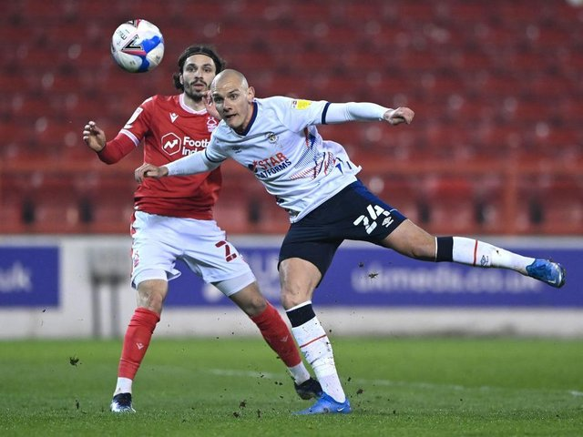 Kal Naismith gets to the ball first against Nottingham Forest on Tuesday night