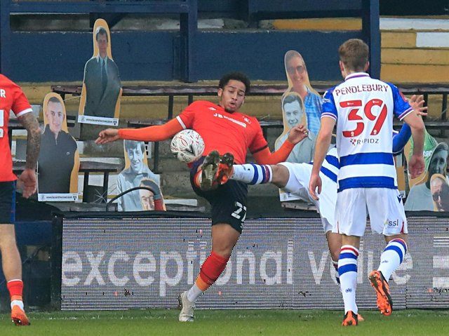 Sam Nombe goes for the ball against Reading in his only start for the club
