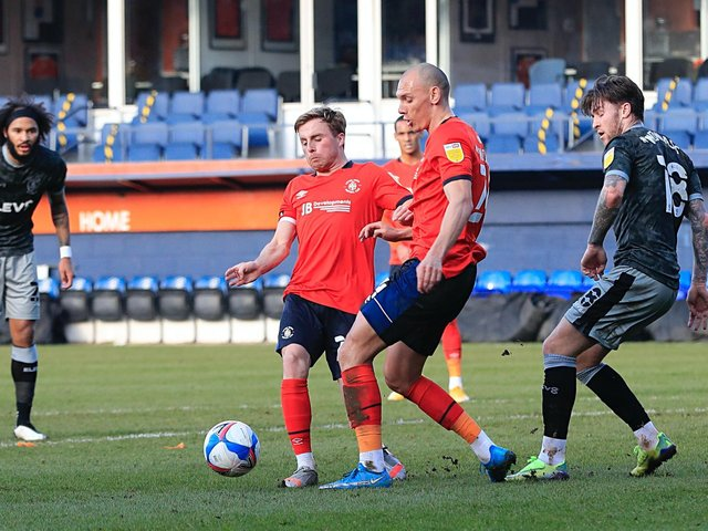 Joe Morrell in action for the Hatters against Sheffield Wednesday