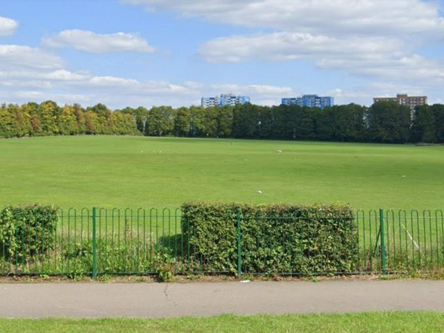 A group of youths playing football in a Luton park were disbanded by police on Wednesday