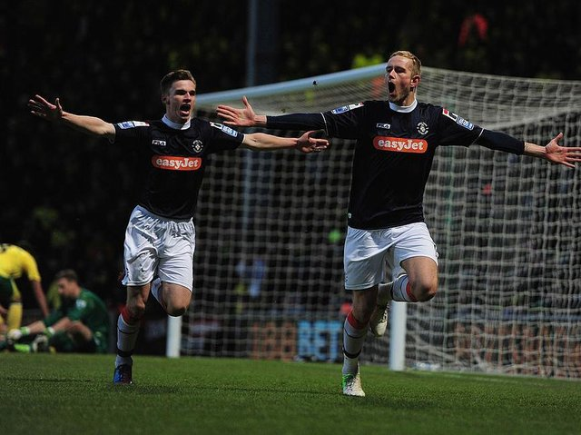 Scott Rendell celebrates scoring the winner at Norwich in the FA Cup back in January 2013.