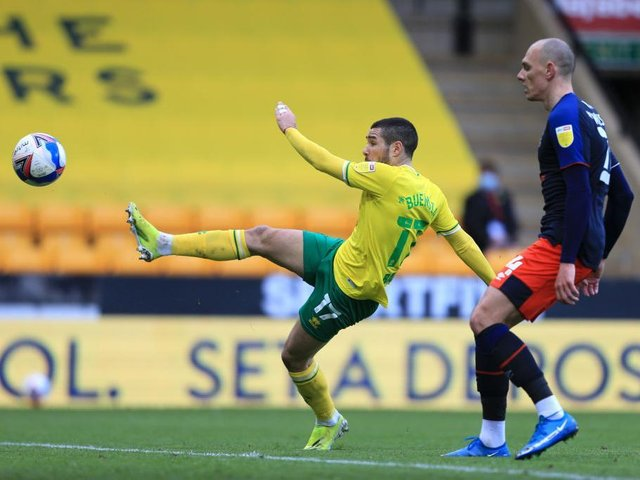 Action from today's defeat for the Hatters at Norwich City