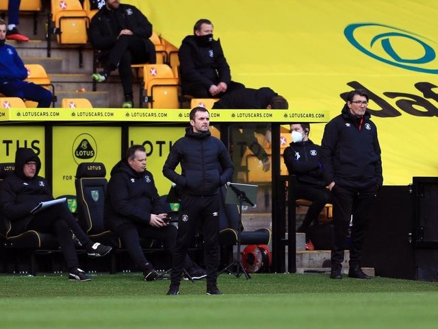 Nathan Jones watches on as his side are beaten by Norwich today
