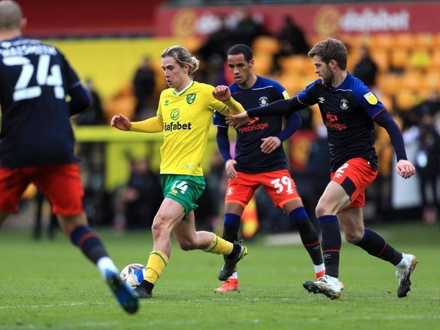 Action from Luton's 3-0 defeat at Norwich City on Saturday