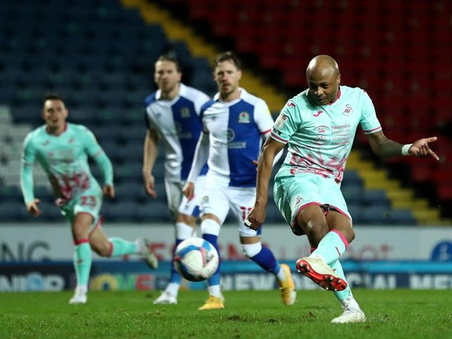 Andre Ayew scores from the spot against Blackburn Rovers in midweek