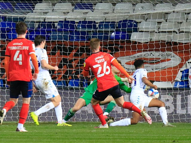 Luton defender James Bree scores his first ever senior goal against Coventry City