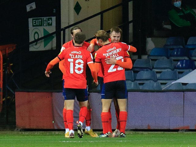 James Bree celebrates scoring a first senior goal during tonight's 2-0 win over Coventry City