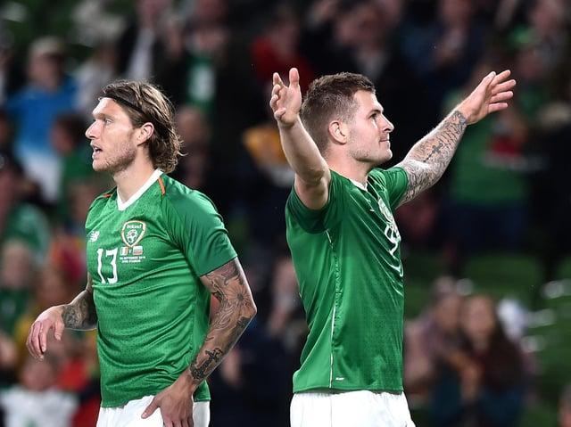 James Collins celebrates scoring for Ireland