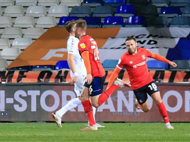 James Breen wheels away after opening the scoring against Coventry on Tuesday night