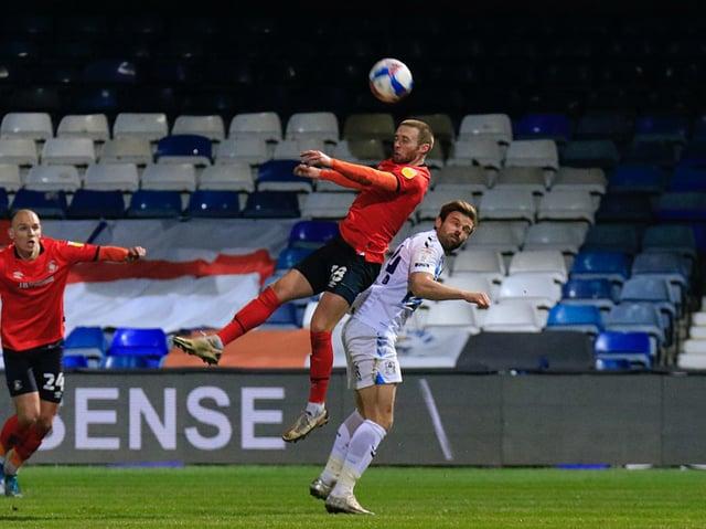 Jordan Clark wins a header against Coventry on Tuesday night