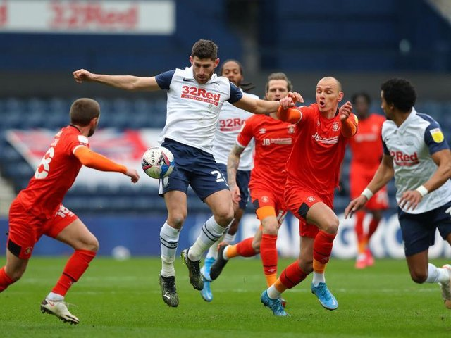 Kal Naismith gets stuck in during Luton's 1-0 win at Preston this afternoon