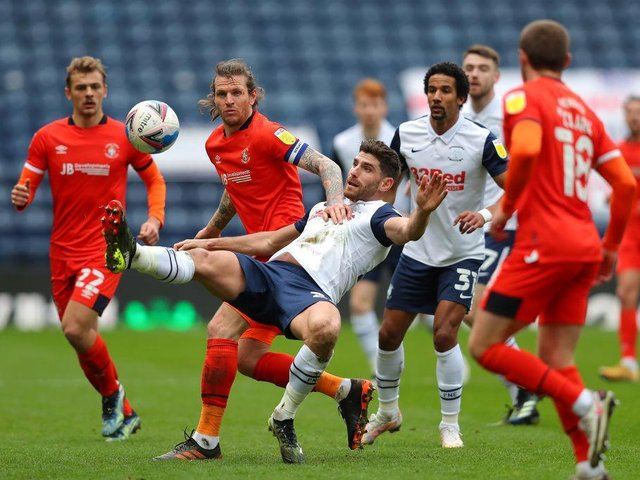 Luton look to win the ball back at Deepdale this afternoon