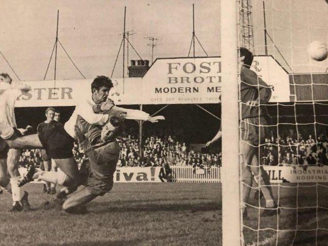 Alan Slough finds the net against Shrewsbury during his lengthy Luton career
