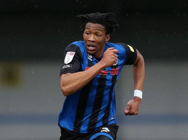 Luton defender Gabriel Osho in action for Rochdale