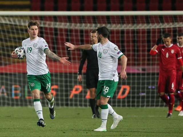 James Collins takes the congratulations after scoring for Ireland this evening