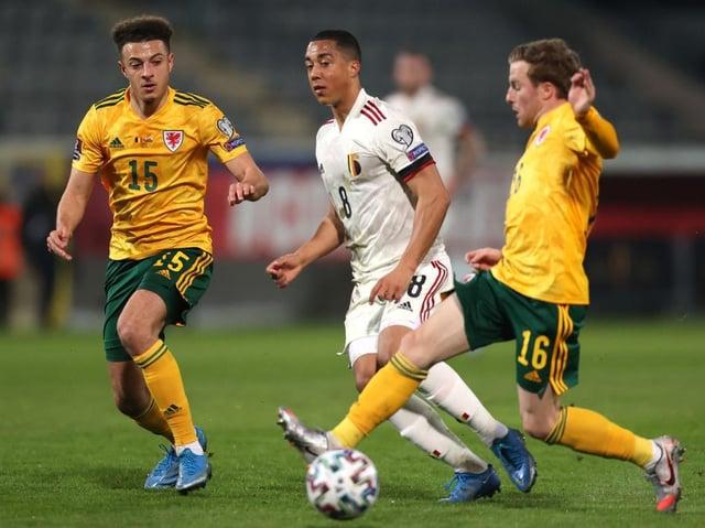 Joe Morrell goes up against Belgium's Youri Tielemans