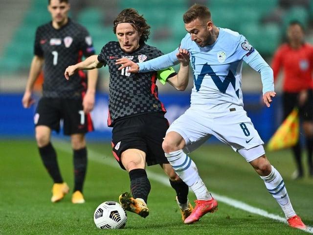 Luka Modric gets involved for Croatia against Slovenia