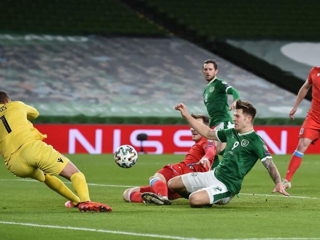 James Collins goes close for Ireland against Luxembourg