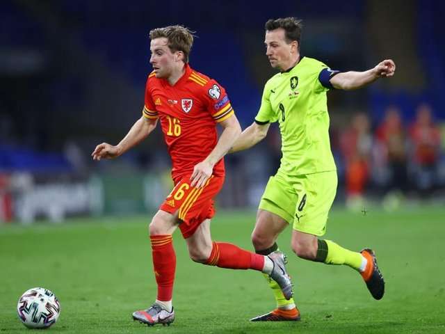 Joe Morrell in action for Wales last night