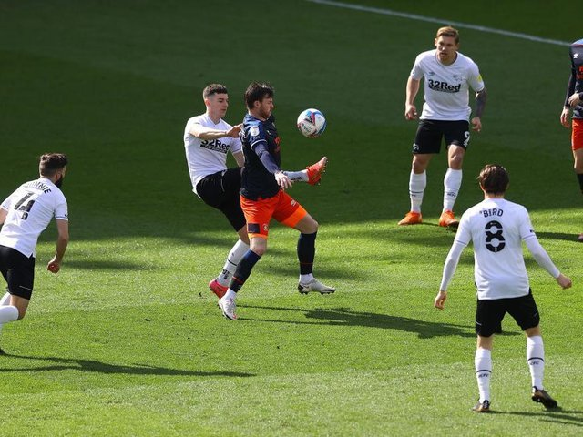 Ryan Tunnicliffe on the ball against Derby this afternoon