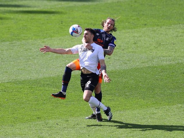 Glen Rea makes a challenge at Derby