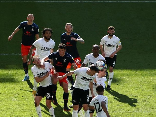 Action from the Hatters defeat to Derby County on Good Friday