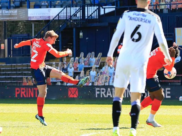 Kiernan Dewsbury-Hall goes for goal during Monday's 2-1 defeat to Barnsley