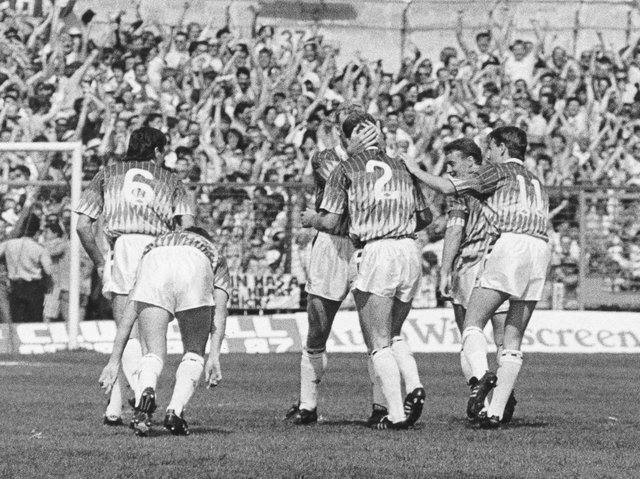 Tim Breacker celebrates his stunner at Derby County