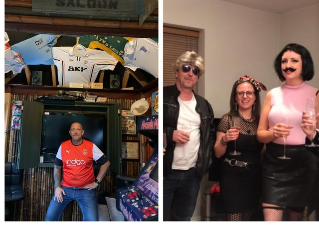 Left: Mark in his Hatters bar. Right: a photo from the contestants' 80s themed evening.