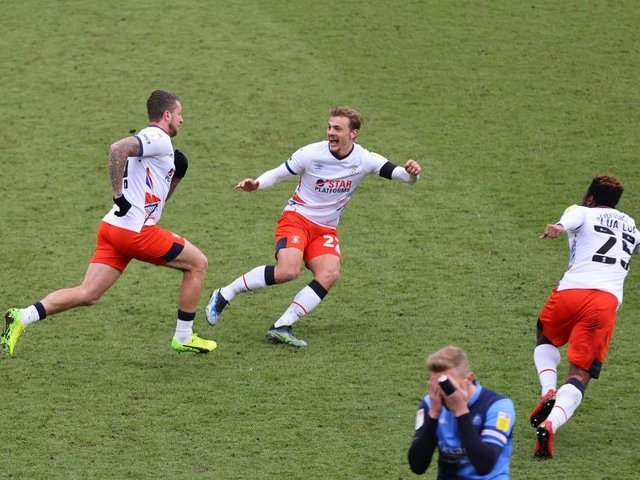 George Moncur celebrates after making it 1-1 on Saturday