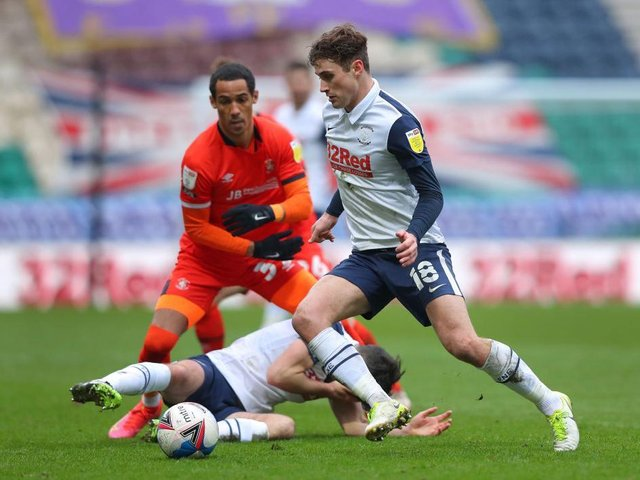 Tom Ince in action for the Hatters at Preston recently