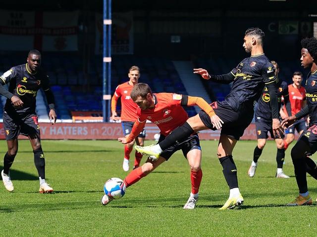 Jordan Clark under pressure against Watford this afternoon