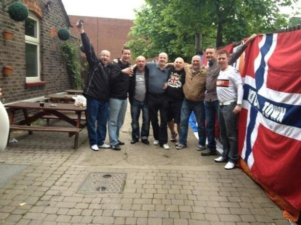 Some of the members of Luton Town Supporters' Club of Scandinavia at The Bricklayers Arms