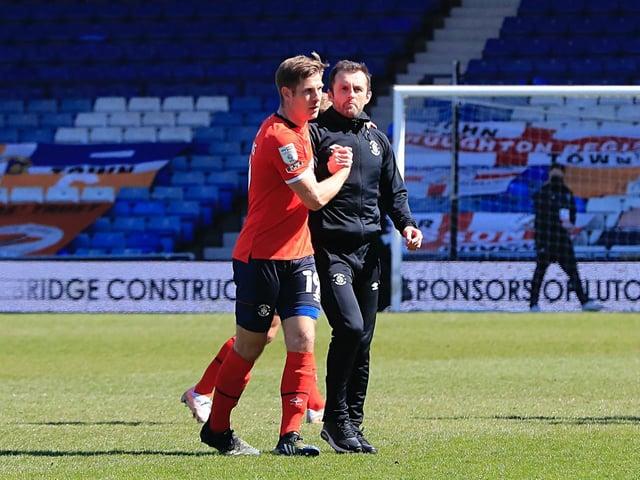 Hatters boss Nathan Jones with striker James Collins