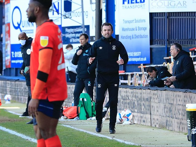 Nathan Jones gives out instructions during Saturday's 1-0 win over Watford