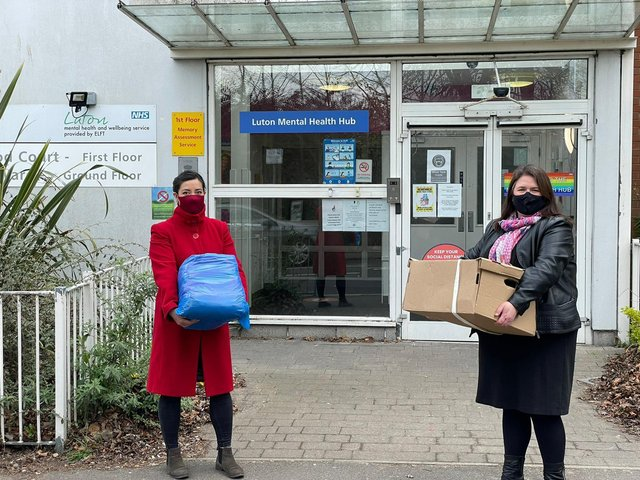 MPs Sarah Owen (left) and Rachel Hopkins (right) deliver handmade scrubs at L&D Hospital