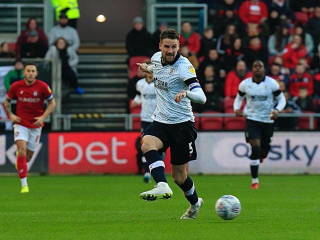 Sonny Bradley plays the ball back during Luton's 3-0 defeat at Bristol City last season