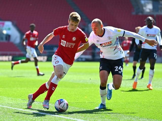 Kal Naismith gets close during the 3-2 win at Bristol City